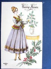 fantaisie , jeune fille à la robe violette et à la branche de houx