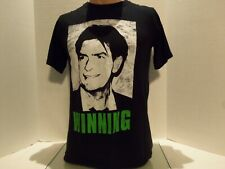 CHARLIE SHEEN WINNING 2011 TOUR DISTRESSED STYLE SHIRT (SMALL)BLACK- OFFICAL