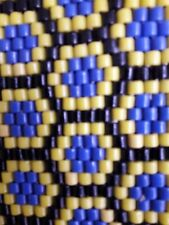 1930s RETICULATED GLASS  BEADED BLUE AND YELLOW PLACE MAT