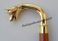 Vintage Style Golden Finish Brass Handle Brown Wooden Walking Stick Cane Men's