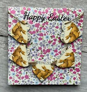 Handcrafted 'Happy Easter' Card With Emma Bridgewater Bunny Rabbits Mini Bunting