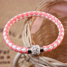 Pink+White Punk Leather Wristband Rhinestone Magnetic Buckle Bangle Bracelet