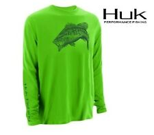 Huk Performance Large Mouth Bass Logo Long Sleeve Neon Green Fishing Shirt L