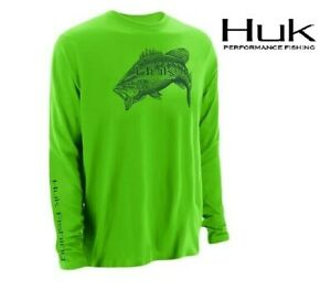 Huk Performance Large Mouth Bass Green Fishing Tournament Jersey Shirt Sz L