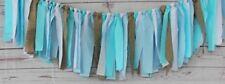 Blue White Burlap Boy Shabby Chic Rag Tie FABRIC GARLAND, Fabric Banner, Wedding