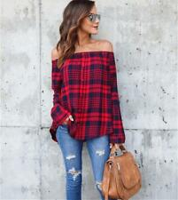 Elegant Ladies Cold Shoulder Plaid Check Shirt Tops Strapless Loose Blouse LD