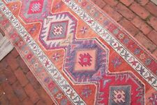 ORANGE Kurdish HERKI Runner 3x13'2 Vintage Hallway Geometric Home Decor Carpet