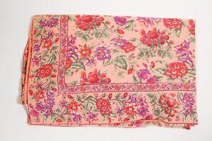 "April Cornell Cotton Tablecloth Floral Print Coral Pink Purple 80"" x 58"" VNTG"