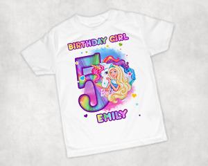 Girls Personalised Rainbow Barbie Printed Birthday T-shirt Birthday Gift