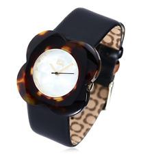 Orla Kiely Ladies Watch Large Poppy Leather Strap Watch - Black Tortoise