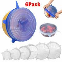 6PCS Stretch Reusable Silicone Wraps Food Saver Cover Seal LIDS SET Kitchen