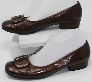 Life Stride Toni Pumps Bronze Metallic Brown Heel Shoes w/ Buckle Womens Size 9M