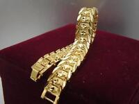 Elegant 14K 9K Yellow Gold Daimond cut Band Soild womens mens bracelet 18.5cm