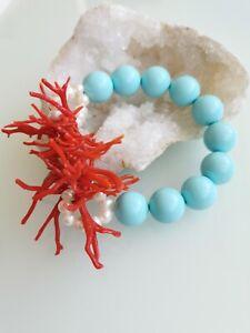 Bracciale turchese, corallo rosso mediterraneo e perle bianche
