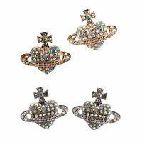 Crystal Ear Pin Stud Earrings Saturn Heart Cross Diamante Crystal Rhinestone