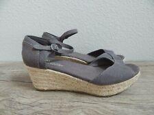 Toms Gray Sandal Wedge Ankle Strap Espadrille Heels - Size 8 - EUC