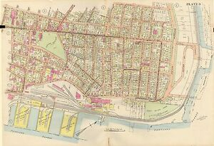 24x36 1914 MAINE PORTLAND HARBOR TO QUEBEC ST FT MOODY ST EASTERN CEM. ATLAS MAP