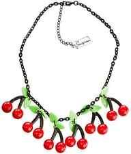 60129 Bombshell Cherries Necklace Sourpuss Cherry Rockabilly Vintage Retro Pinup