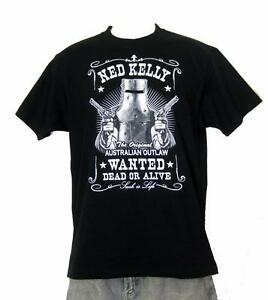 Ned Kelly Outlaw Wanted Dead or Alive Short Sleeve Black TShirt S,M,L,XL,XXL,3XL