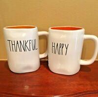 Rae Dunn Happy Halloween Double Sided & Thankful Mug Orange Interior You Choose!
