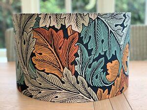 Handmade Lampshade William Morris Acanthus Autumn Leaf Fabric Teal Green Orange