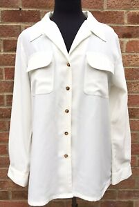 ORVIS Ladies Ivory Cream Shirt Blouse M Medium 12 14 Plain Straight Pockets A