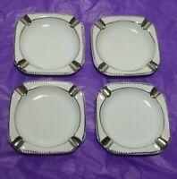 Set of 4 Vintage Dresden Germany Porcelain Ashtrays Elegant Silver Accent