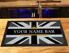 More details for personalised bar runner mat - grey union jack crown, any name, beer runner mat