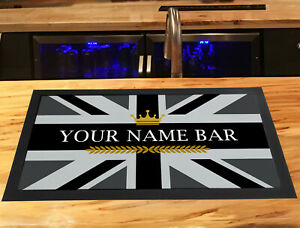 Personalised Bar Runner mat - Grey Union Jack crown, any name, beer runner mat