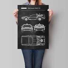 DeLorean DMC-12 Poster Back to the Future Patent Blueprint Art Print