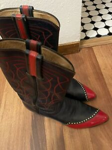 Laramie Hand Made Womens Leather Western Boots Size 7.5 Navy & Red