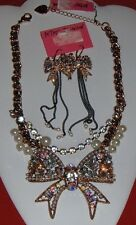Betsey Johnson Vintage Crystal Bow Gold-Tone Statement Necklace and Earrings