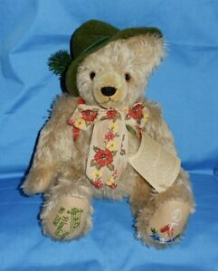 Max Hermann 100th Birthday Happy Wanderer Mohair Musical Jointed Plush Bear Tags