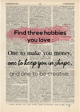 Find 3 hobbies Dictionary Art Print page Motivational Inspirational