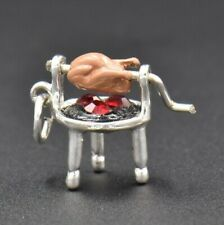 VTG Rotisserie Chicken on Spit Wells Sterling Silver Charm BBQ MOVES Enameled 3D