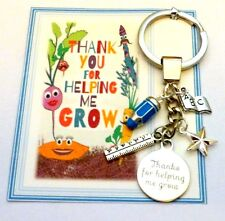 Thank you for helping me Grow Key Ring Gift Teacher at End of Term On Gift card