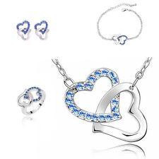 Dark Blue Crystal Heart Jewellery Set Match Necklace, Earrings, Bracelet & Ring