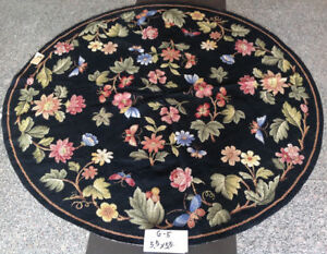 5.5' Amazing Handmade Needlepoint Rug Rose Bouquet Butterflies Country Style