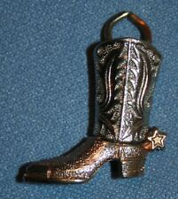 """Cowboy Boot Pendant Charm Gold & Silver Tone 1"""" Marked Jewelry Spurs Western"""