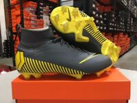 Nike Junior Mercurial Superfly 6 Elite FG Cleats (Grey/Yellow) Size: 4-6 Y NEW!