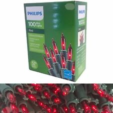 New Philips 100 Mini Lights RED Color on Green Wire Christmas St Valentine's Day