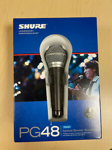 Shure PG48 Cardioid Dynamic Vocal Microphone, unopened box, mic clip & cable