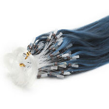 18Inch DIY Loop Micro Ring Beads Tipped 100% Remy Human Hair Extensions Blue 50S