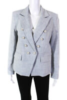 Generation Love Womens Abby Tweed Blazer Jacket Light Blue Size Large