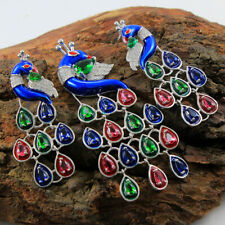 925 Silver Sterling, traditional Natural Gemstone Peacock Earring 14.2gm jewelry