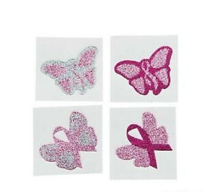 12 Breast Cancer Awareness Pink Ribbon Butterfly Glitter Temporary Tattoos