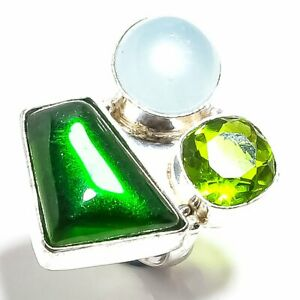Chrome Diopside & Peridot Gemstone Handmade 925 Sterling Silver Ring size 6.2