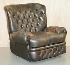 VINTAGE THOMAS LLOYD RECLINER BROWN LEATHER CHESTERFIELD MONKS ARMCHAIR