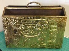 Lovely Brass Magazine Rack - Tavern Scene