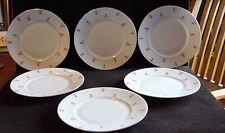 6 Sorau Pottery Orange Design Gold Trim Salad Plates 7 3/4 Inch Diameter